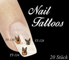 Nail Art Deutscher Schäferhund Schaeferhunde Tiere Hund Auswahl Tattoo TT-128a