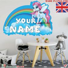 Unicorn 01 Nome Personalizzata Adesivo Parete Stanza Bambini Decalcomania Vinile in tessuto UK