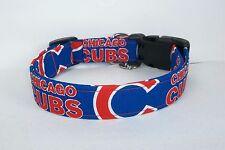 CHICAGO CUBS MLB Terri's Dog Collar custom hand made adjustable bbaseball fabric