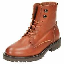 Carmela Leather Lace Up Flat Ankle Boots 66861 Tan Brown Zip Biker Chelsea Shoes