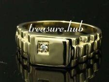 MR012 Genuine 9K or 18K SOLID Gold Natural DIAMOND Watch-link Shoulder Ring