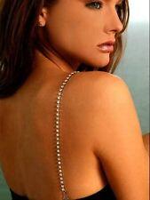 Decorative Diamante Crystal Adjustable Bra Straps Black Silver for Wedding Party
