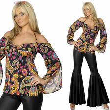Mujer 70's Negro Acampanados motivo Cachemira Top Atuendo Disfraz
