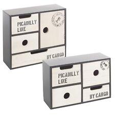 4 5 en Bois Tiroirs Boîte De Rangement Bits & Bobs Organisateur Chic poitrine Cabinet Armoire