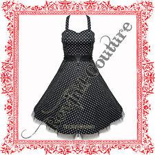 BLACK POLKA DOT ROCKABILLY PIN-UP PROM SWING DRESS 8-18