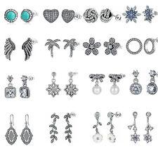 Authentic 925 Sterling Silver CZ Pearl Stud Dangle Hoop Earrings Lady Jewelry