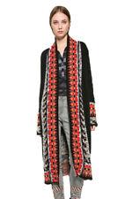 Desigual Long Black Brown Cardigan Patterned Edging  XS-XL UK 8-16 RRP �119
