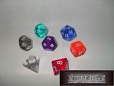 GEM DICE SETS - Multi Sided Poly Dice D20 RPG D&D NEW