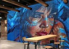 Graffiti Woman Blue Hair Restaurant Art Wall Murals Wallpaper Decals Prints Deco