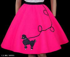 "5 PC NEON PINK FELT 50's Poodle Skirt Adult Size Medium Waist 30""-36"" Length 25"""