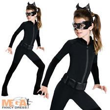Catwoman Niñas Disfraz + Máscara superhéroe Dark Knight Batman CHILDS Vestido De Lujo