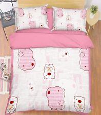 3D Pink Letters Bear 535 Bed Pillowcases Quilt Duvet Cover Set Single Queen CA
