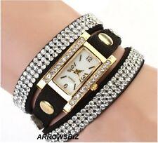 Ladies Multilayer Rhinestone Rectangular Dial Leather Bracelet Dress Wrist Watch