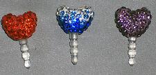 Heart Rhinestones Cell Phone Charm Earphone Cap Dust Plug,  Fast Ship from U.S.