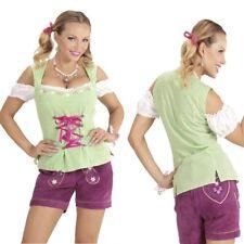 Damen Trachtenbluse grün-weiß kariert Dirndl Bluse Oktoberfest Bayern Gr. 34-46