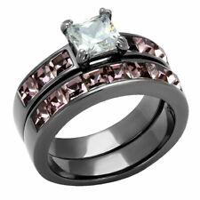 Stainless Steel AAA Princess Cut Violet Cubic Zirconia Women's Wedding Ring Set