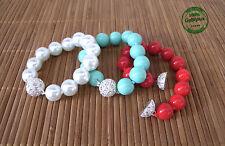 Bracciale di Perle Turchese Rosso e Bianco Simil Perla in Resina Glamour Estivo