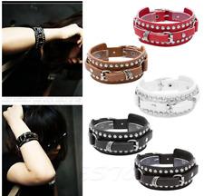 Punk Leather Bracelet Rock Stud Chain Cuff Bangle Adjustable Wristband Bracelet