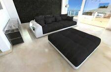 Big Sofa Miami Polster Couch Mega Sofa Beleuchtung optional Hocker in schwarz