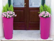 Grand Pot de fleurs rond haut en résine Cache-pot  Ø 31 x h 70 cm jardin