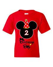 Birthday Boy Mickey Mouse Theme Customized Birthday T-Shirt. Sizes 2-3T, XS-XL.