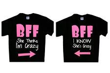 BFF She thinks I'm Crazy / I Know she's Crazy  T-Shirt Set Couple Tee