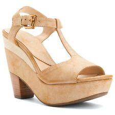 Nicole Women's Gerry T-Strap Platform Sandals Wedge Sahara Pick A Size Summer