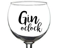 6 x Decalcomania In Vinile Gin O 'CLOCK Bicchiere da vino in vetro potabile Adesivi