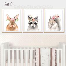 Set of 3 Woodland Animal Watercolor Art Prints -Forest Animall Wall Decor #Set C