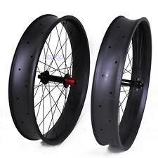 100mm 26er Carbon Fat Bike Wheel Clincher MTB Thru Axle QR Matt Rim 4.8 Beadless