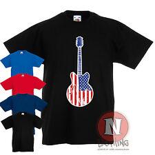 ROCK N ROLL Bannières étoilées GROUPE DE GUITARISTES enfants T-shirt 3-13 An