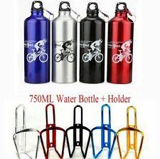 750ML Mountain Bike Cycle Water Drink Bottle + Holder Cage Aluminium Sports Set