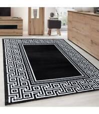 Teppich Modern Designer Geometrisch bordüre versace Optik Schwarz Weiß