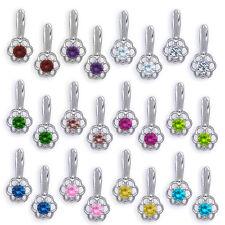 Ladies 925 Silver Dangling 12 Month Birthstones Flower Drop Leverback Earrings
