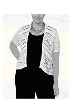 Tunic Shrug Cardigan Sweater White Womens 0X 1X 2X 3X NEW Crochet Style&Co Z413