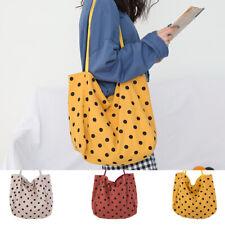 100% Cotton Polka Dot Heavy Duty Large shopping Canvas shoulder Tote Bag handbag