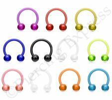Horseshoe Bar Circular Barbell Septum Nipple Nose Ear Flexible Balls UV ACRYLIC