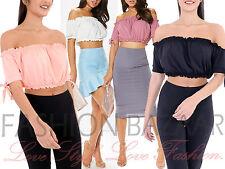 Womans Cheap Ruched Bardot Off Shoulder Crop Top Gypsy Summer Holiday Tube Top