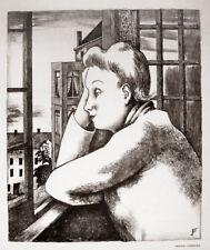 August Wilhelm Dressler. Frau am Fenster Berlin Stadtbild Original-Lithographie