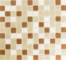 Mosaik Fliese Glasmosaik Natursteinmosaik mix beige Wand Bad Art: 62-1204-GN_b