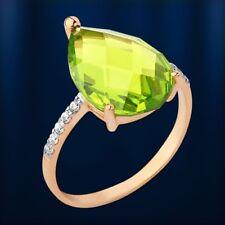585 Gold Rose Rotgold Goldring Ring mit Tropfen Peridot Sital & CZ Solitär