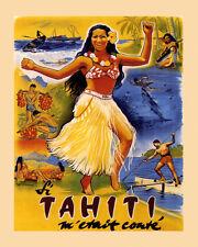 Tahiti Island in French Polynesia Travel Tourism 16X20 Vintage Poster FREE SH