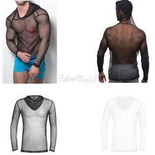 Mens Fishnet See-through T-Shirt Tops Undershirt Mesh Sheer Muscle Vest Clubwear