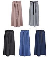 Womens Polyester Skirt 8 Panels Flare Maxi Skirt Elasticated Waist Tie Belt 35 I