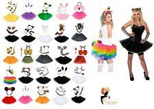 Ladies ANIMAL EARS BOW TAIL FANCY DRESS TUTU COSTUME Girls School Play Party Lot