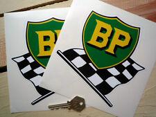 "BP Pre '58 Old Style Shield & Flag Stickers 6""Pair Vanwall Maserati BRM Alfa Car"