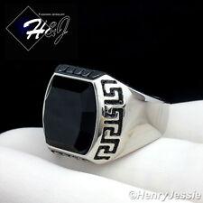 MEN's Stainless Steel Silver Black Onyx Greek Key Design Ring Size 8-12*R93
