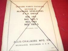 Allis Chalmers 140 180 Manure Spreaders Dealer's Parts Book