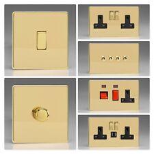 Varilight Screwless Polished Brass DVB Light Switch Socket Dimmer Toggle Cooker