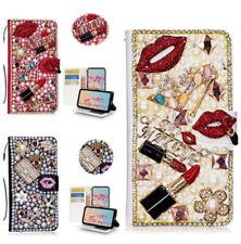Bling Rhinestone Flower Handbag Wallet Card Slot Diamond Leather Case Cover